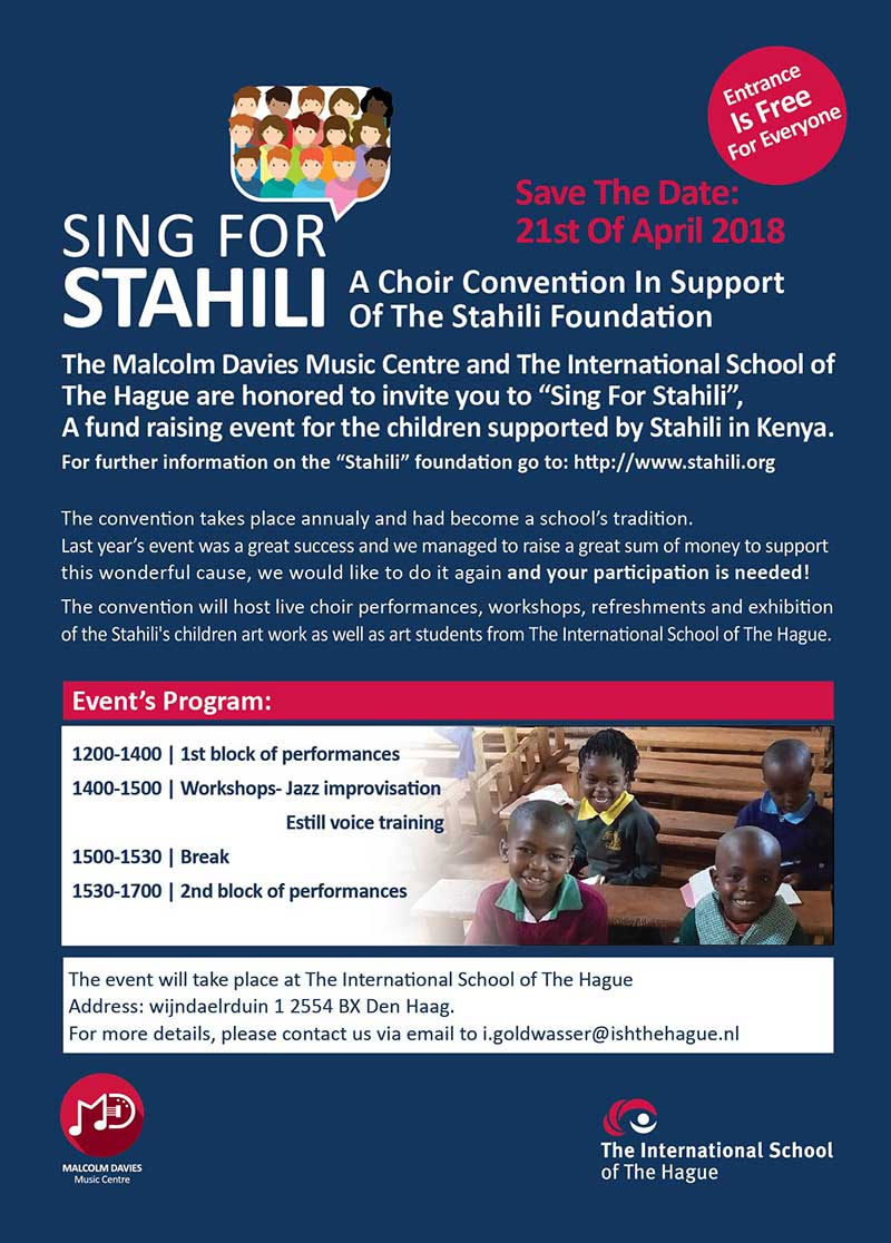 22 April Sing for Stahili Choir Convention at ISH