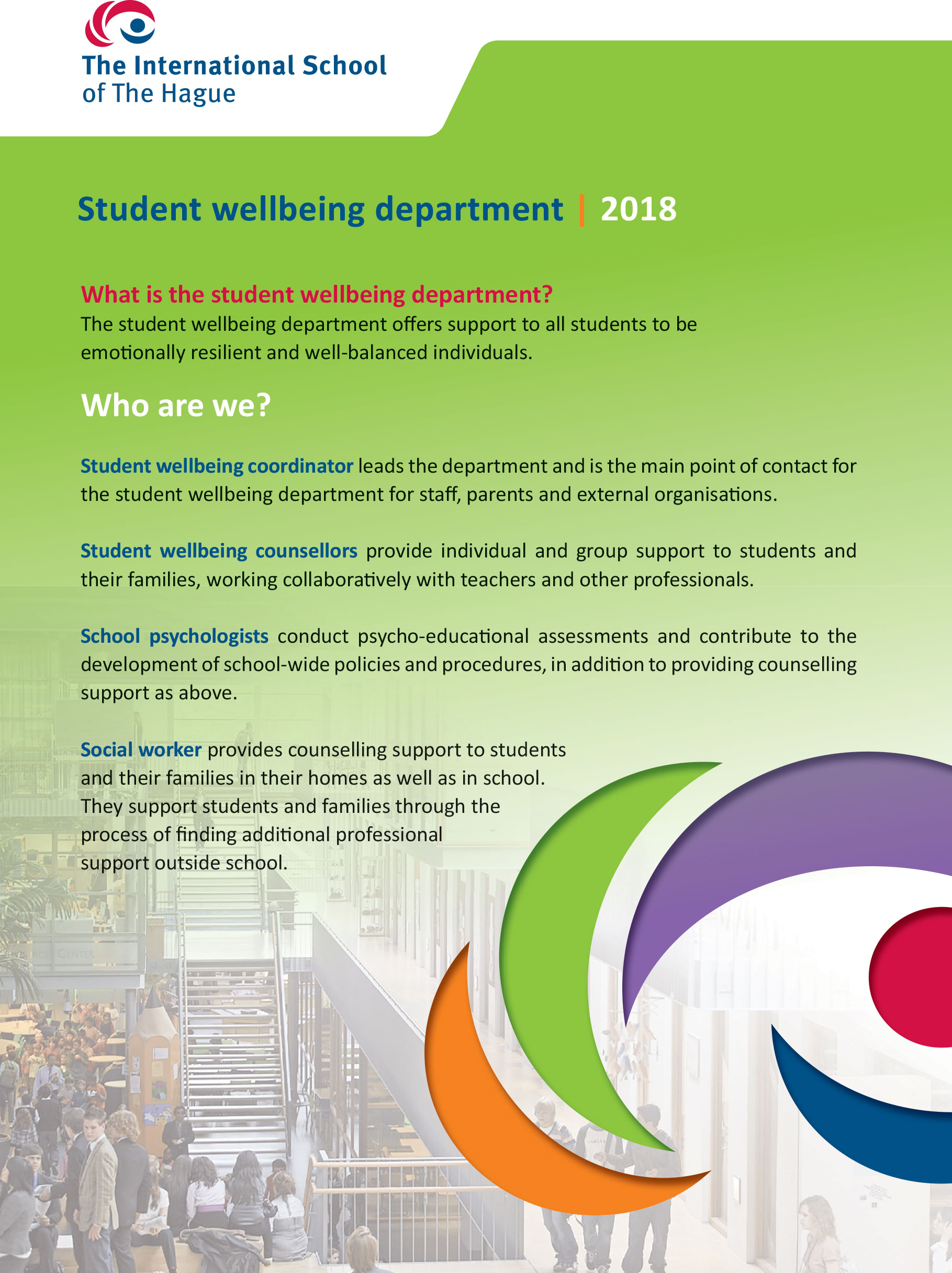 text about the Student Wellbeing department
